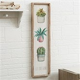 Mixed Cactus & Succulents Personalized Barnwood Frame Wall Art- 30