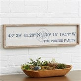 Latitude & Longitude Personalized Long Barnwood Frame Wall Art- 30