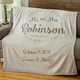 Mr. & Mrs. Personalized Wedding & Anniversary 60x80 Fleece Blanket - 19268-L