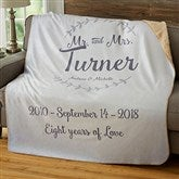 Mr. & Mrs. Personalized Wedding & Anniversary Premium 60x80 Sherpa Blanket - 19269-L