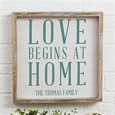 Love Begins At Home Personalized Barnwood Frame Wall Art- 12