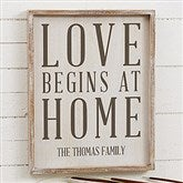 Love Begins At Home Personalized Barnwood Frame Wall Art- 14