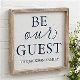 Be Our Guest Personalized Barnwood Frame Wall Art- 12