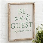 Be Our Guest Personalized Barnwood Frame Wall Art- 14