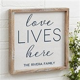 Love Lives Here Personalized Barnwood Frame Wall Art- 12