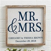 Mr. & Mrs. Personalized Barnwood Frame Wall Art- 12' x 12