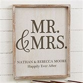 Mr. & Mrs. Personalized Barnwood Frame Wall Art- 14' x 18