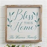 Bless This Home Personalized Barnwood Frame Wall Art- 12' x 12
