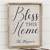 Bless This Home Personalized Barnwood Frame Wall Art- 14' x 18