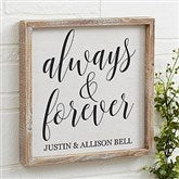 Always & Forever Personalized Barnwood Frame Wall Art- 12