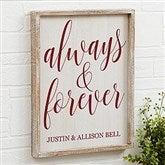 Always & Forever Personalized Barnwood Frame Wall Art- 14