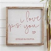 P.S. I Love You Personalized Barnwood Frame Wall Art- 12