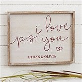 P.S. I Love You Personalized Barnwood Frame Wall Art- 14
