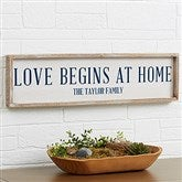 Love Begins At Home Personalized Barnwood Frame Wall Art - 30