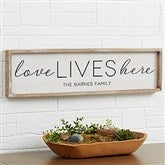 Love Lives Here Personalized Barnwood Frame Wall Art - 30