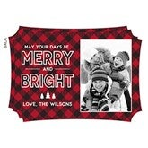 Merry & Bright Personalized Plaid Photo Christmas Cards - 19341