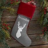 Winter Silhouette Personalized Burgundy Christmas Stockings - 19349