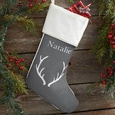 Winter Silhouette Personalized Ivory Christmas Stockings - 19349-I