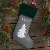 Winter Silhouette Personalized Green Christmas Stockings - 19349-G