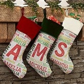Repeating Name Personalized Burgundy Christmas Stocking - 19353