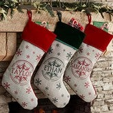 Stamped Snowflake Personalized Christmas Stocking - 19357