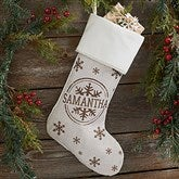 Stamped Snowflake Personalized Ivory Christmas Stockings - 19357-I