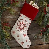 Stamped Snowflake Personalized Burgundy Christmas Stockings - 19357
