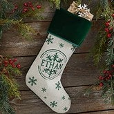 Stamped Snowflake Personalized Green Christmas Stockings - 19357-G