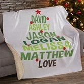 Christmas Family Tree Personalized Premium 60x80 Sherpa Blanket - 19362-L