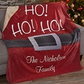 HO! HO! HO! Santa Belt Personalized Premium 60x80 Sherpa Blanket - 19364-L