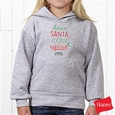 Dear Santa Personalized Hanes® Youth Hooded Sweatshirt - 19372-YHS