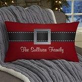 HO! HO! HO! Santa Belt Personalized Lumbar Throw Pillow - 19381-LB