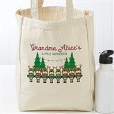 Reindeer Family Personalized Petite Canvas Tote Bag - 19388