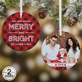 2-Sided Merry & Bright Plaid Personalized Ornament - 19446-2