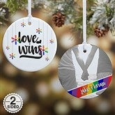 2-Sided Love Wins Personalized Pride Ornament - 19447-2