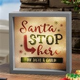 Santa Stop Here Personalized LED Light Shadow Box- 6