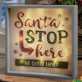 Santa Stop Here Personalized LED Light Shadow Box- 10