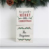 Merry Christmas Personalized Shelf Blocks - Set of 2 - 19469