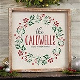 Christmas Wreath Personalized Whitewashed Frame Wall Art- 12' x 12