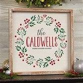 Christmas Wreath Personalized Whitewashed Frame Wall Art- 12