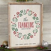 Christmas Wreath Personalized Whitewashed Frame Wall Art- 14' x 18