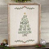 Christmas Family Tree Personalized Whitewashed Frame Wall Art- 14