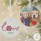 2-Sided Love Has 4 Paws Personalized Dog Photo Ornament-Large - 19485-2L