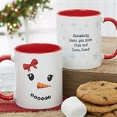 Snowman Character Personalized Christmas Mug 11 oz.- Red - 19489-R