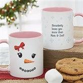 Snowman Character Personalized Christmas Mug 11 oz.- Pink - 19489-P