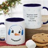Snowman Character Personalized Christmas Mug 11 oz.- Blue - 19489-BL