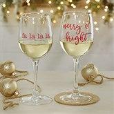 Christmas Celebrations Personalized 12oz. White Wine Glass - 19499-WN