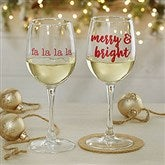 Christmas Celebrations Personalized 12oz. White Wine Glass - 19499-WN