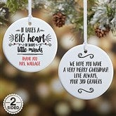 2 Sided It Takes A Big Heart Personalized Teacher Ornament- Small - 19501-2S