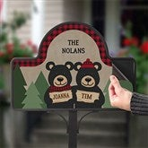 Holiday Bear Family Personalized Magnetic Garden Sign - 19523-M